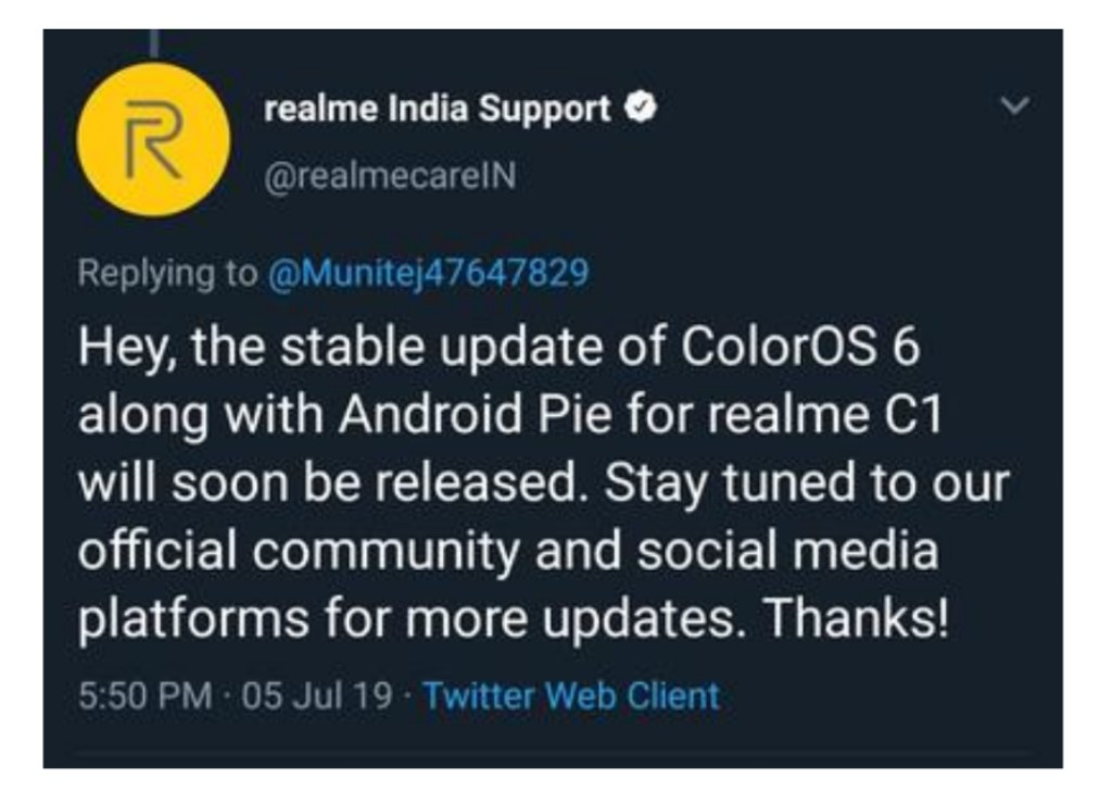 Realme C1 ColorOS 6 (Android Pie 9 0) stable update goes live